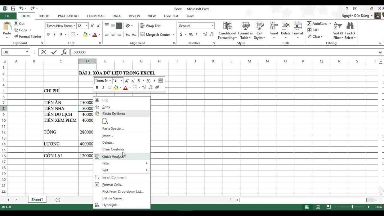 [Excel 2013] Bài 03: Xóa dữ liệu trong Excel