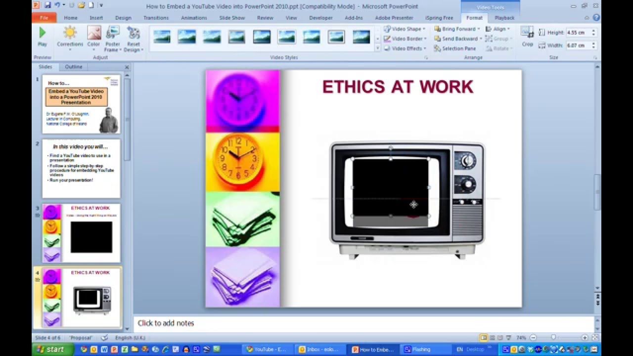 How Toembed A Youtube Video Into A Powerpoint 2010 Presentation