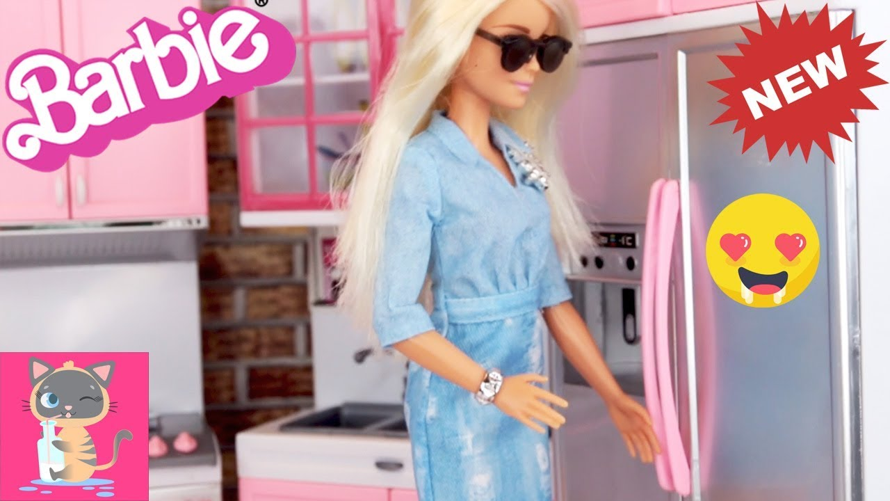 Toy Unboxing Modern Kitchen For Barbie Doll And Blue Kitchen Playset Bed For Frozen Elsa Doll Ep 2 Youtube