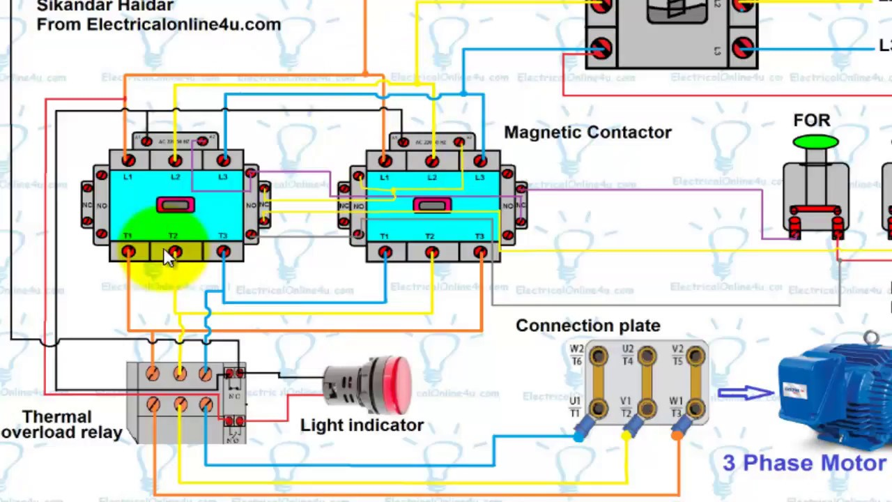 forward reverse motor control wiring diagram for 3 phase motor urdu rh youtube com 3 Phase Motor Wiring Connection Motor Run Capacitor Wiring Diagram