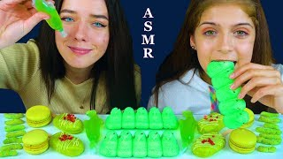 ASMR MOST POPULAR GREEN FOOD CHOCOLATE ICE CREAM, TIK TOK JELLIES, MACARON 먹방 EATING SOUNDS