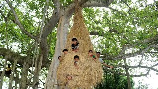 Primitive Technology : Built Hanging Hut - Tree House Making Like Bird Nests In Banyan Tree