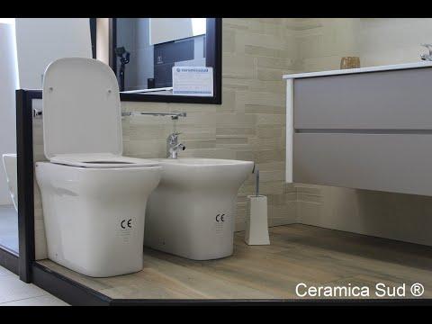 Sanitari filomuro Design squadrato - Wc + Bidet + Copri-wc Prima Scelta - CERTIFICATA ©