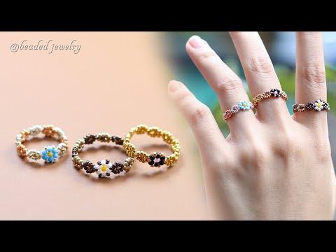 DIY daisy flower rings. How to make simple beaded ring. Beading tutorial - YouTube