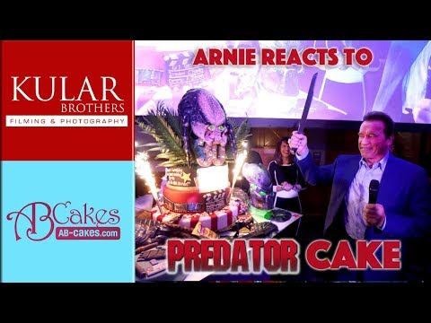 Arnold Schwarzenegger Reacts to Predator Cake!