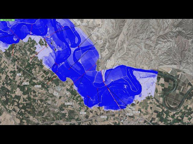 Simulación avenida objetivo Tramo 8 con actuaciones que evitarían la inundación de Cabañas