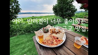 River side pizza place where you can bring dogs near Seoul
