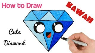 easy draw diamond kawaii