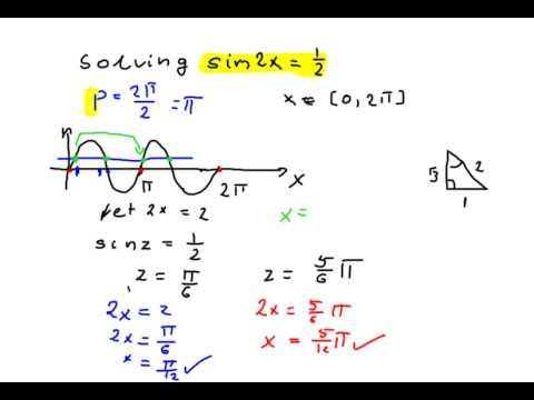 How To Solve A Trigonometric Equation Sin2x 12 Part 7 Of 8 Youtube