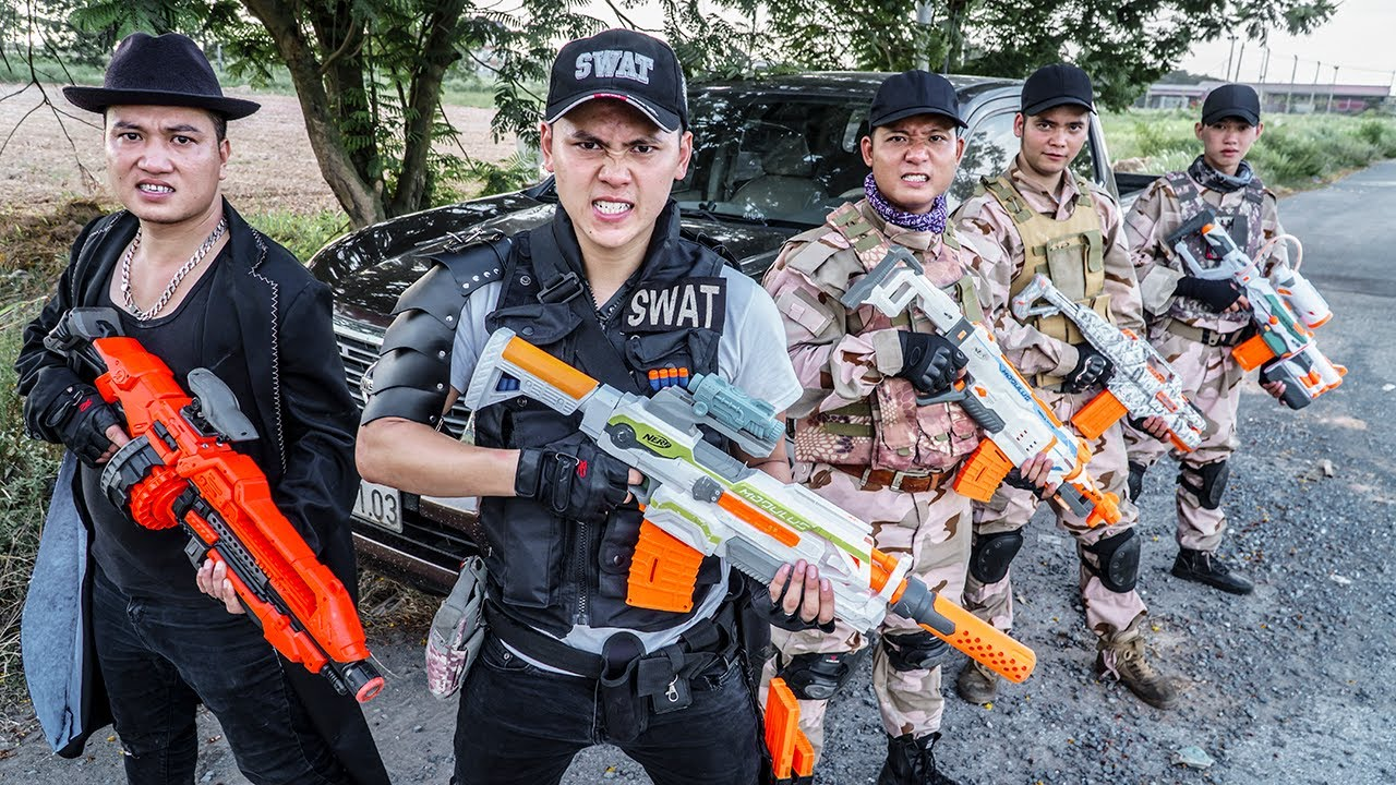 LTT Game Nerf War : Two Patrol Police Warriors SEAL X Nerf Guns Fight Criminals Braum Crazy