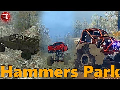 SpinTires MudRunner: NEW MAP! Hammers Park - Race Track, Rock Crawling, Mudding, and More!