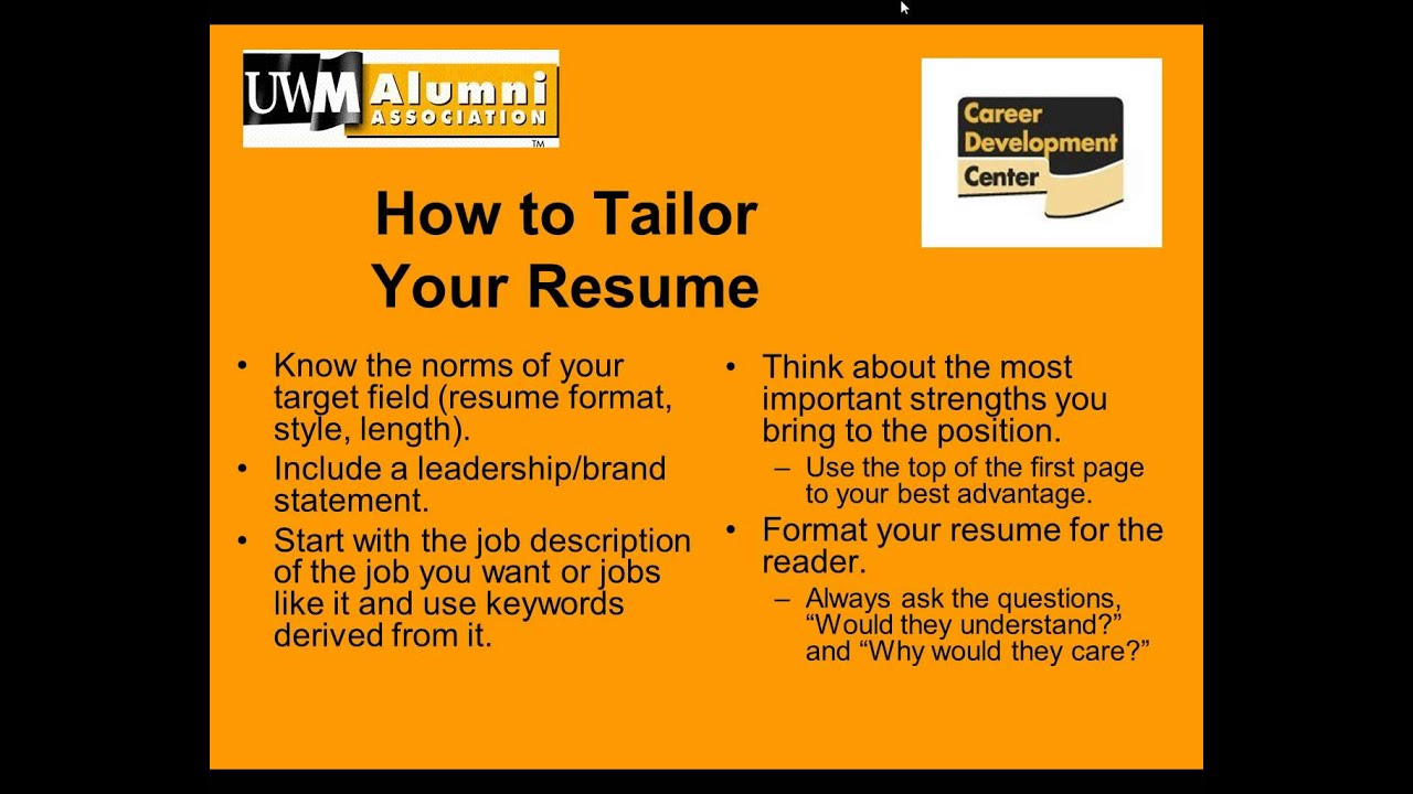 uwm alumni career services webinar high impact resumes and cover