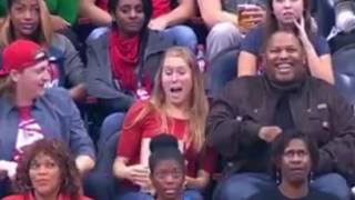 Kiss CAM FAIL.  Girl Kisses wrong guy and boyfriend gets Jealous!