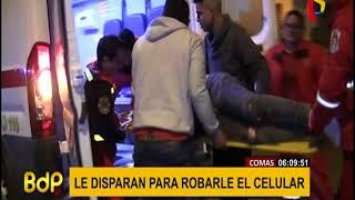 Comas: delincuentes balean a joven para robarle su teléfono celular