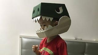 Simple Cardboard dinosaur helmet
