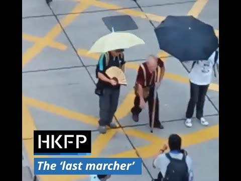 The 'final marcher' at Hong Kong's protest against activist jailings.