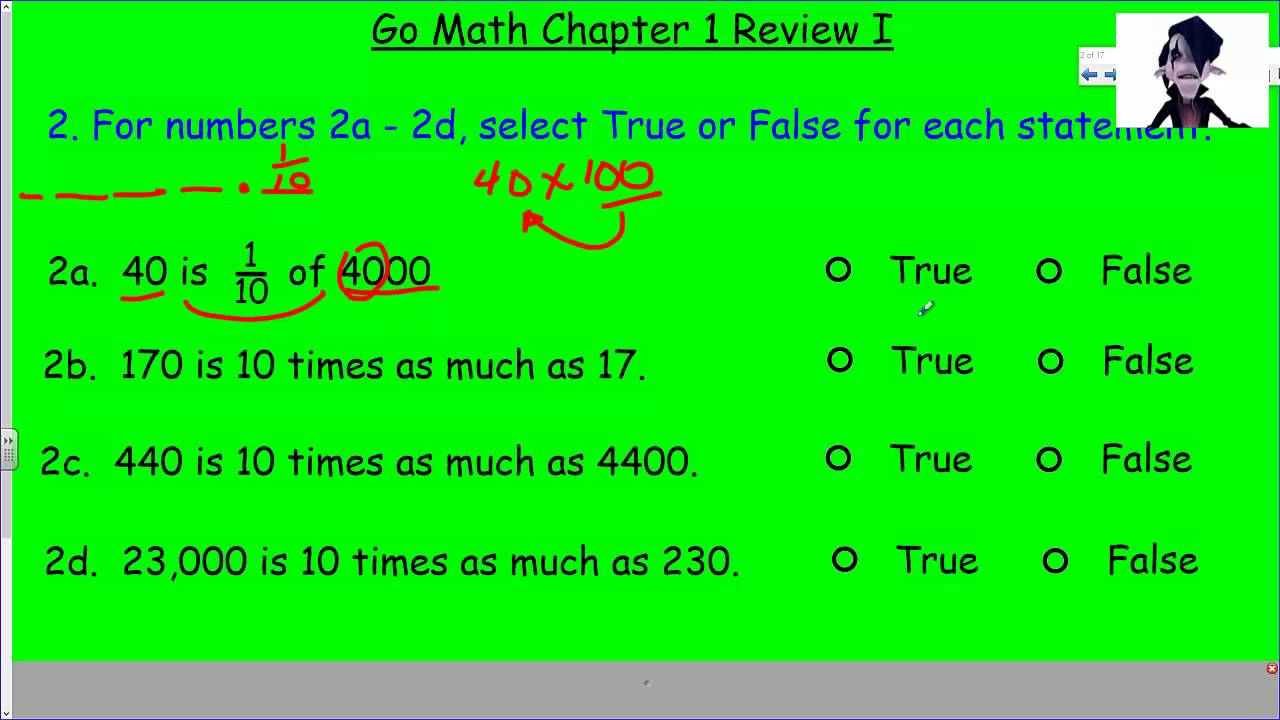 Go Math Chapter 1 Review I - YouTube