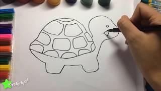 Как рисовать животных для детей, рисовать черепаху, изучать цвета с черепахой