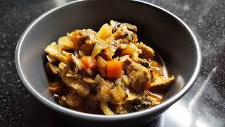 Тушёная капуста со свининой в мультиварке Отличный обед или ужин