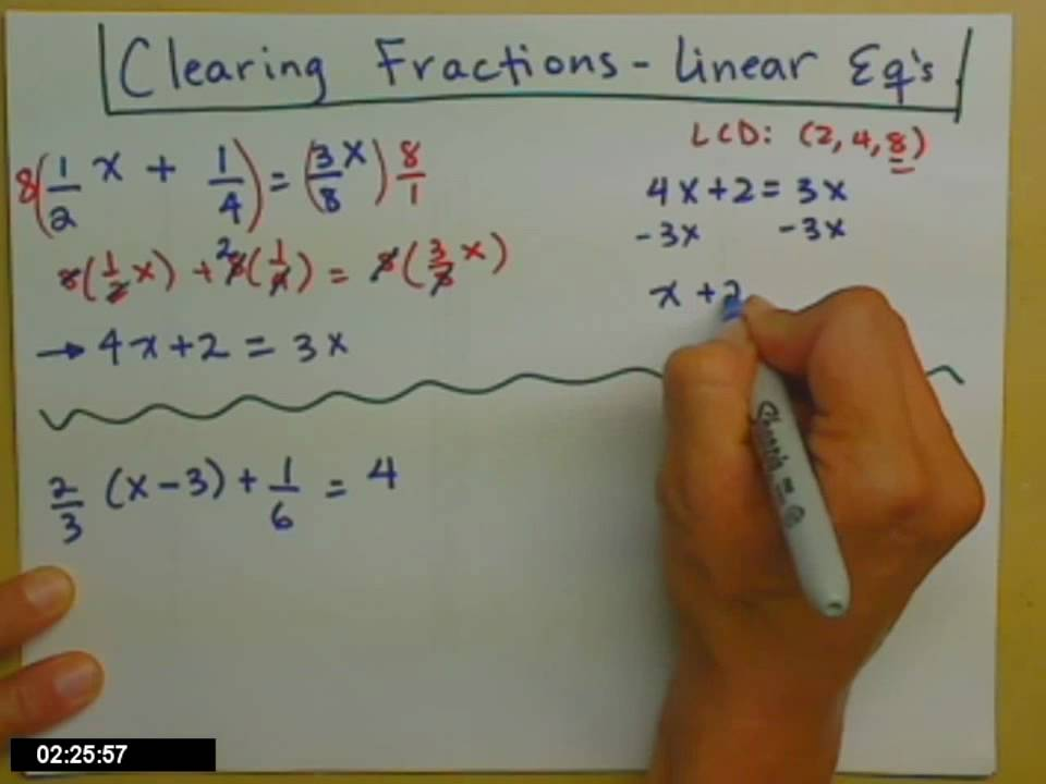 Linear Equations With Fractions Youtube