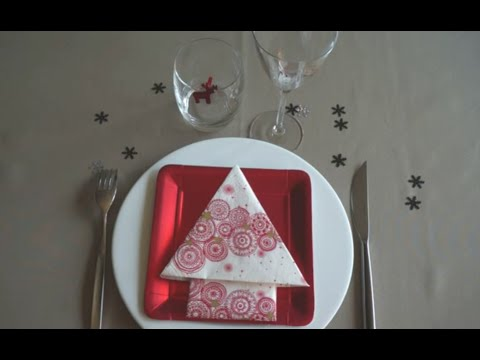 Tuto pliage serviette sapin de noel youtube - Pliage de serviette noel facile ...