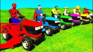FUN COLOR LAWN MOWERS & TRACTORS with Superheroes Cartoon for Children and Babies Nursery Rhym #JAB