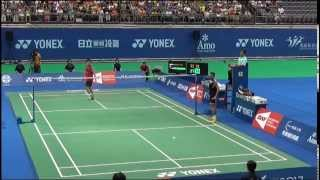 Riichi Takeshita hot shot against Lin Dan - Chinese Taipei GP 2014