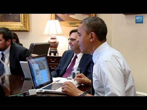 President Obama on twitter from the Roosevelt room of the White House using My2k