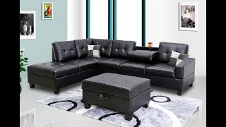 Black Faux Leather Sectional by Pricebusters with ottoman
