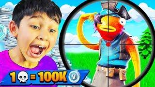 7 Jahre alt gewinnt 100K Vbucks Wenn er 1 Elimination bekommt (Fortnite: Battle Royale)
