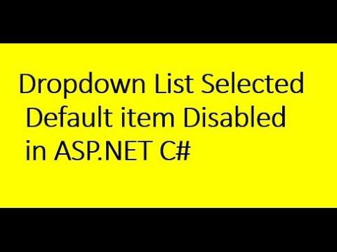 DropdownList Selected Default Item Disabled In ASP.NET C#