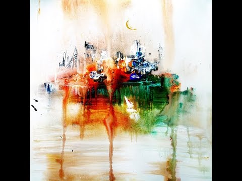 ABSTRACT PAINTING - CITYSCAPE - DRIP ACRYLIC EFFECT - PAINTING TIPS AND TECHNIQUES BY DRANITSIN