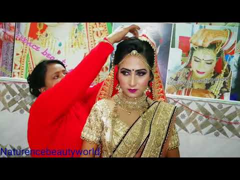 Bridal different style ||double ||dupatta setting||purple cream lehnga in hindi ||NbW