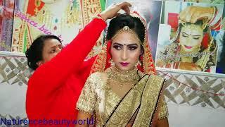 Bridal different style   double   dupatta setting  purple cream lehnga in hindi   NbW