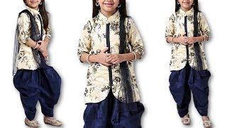 DIY 10 year baby girl Full Sleeves Designer Kurti With Patiala & Dupatta Cutting