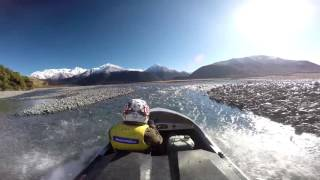 Jet boating the waimakariri river, New Zealand