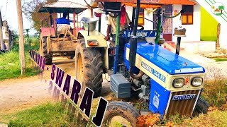 Swaraj 744 FE Tractor front wheel stuck with street drainage