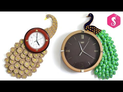 2 HANDMADE PEACOCK WALL CLOCK from OLD MATERIALS