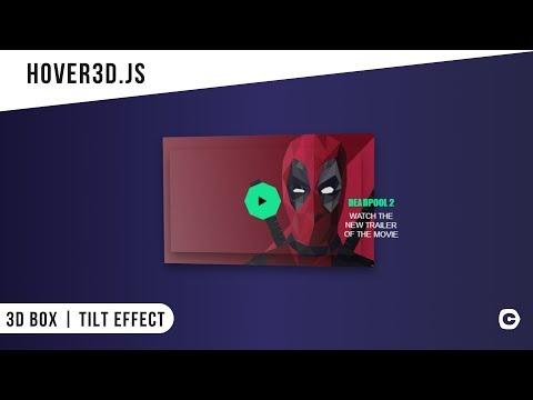 3D Box | Tilt Effect using hover3d js | CSS - JavaScript Tutorial
