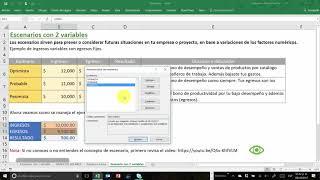 Escenario con 2 variables en Excel