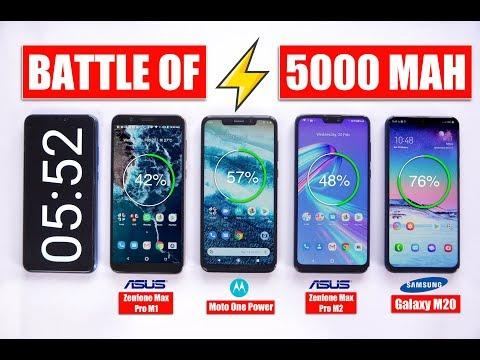 Extreme Level Battery Drain 100%-0% - Galaxy M20 vs Max Pro M2 vs Moto One Power vs Max Pro M1 🔥
