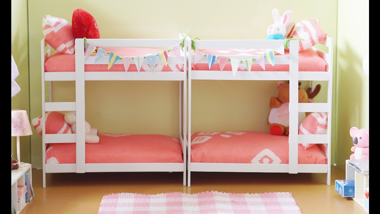 diy miniature bunk bed tutorial for dolls nendoroid and action figures youtube. Black Bedroom Furniture Sets. Home Design Ideas