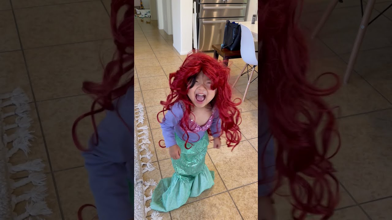 Toddler dressed up as Ariel will melt your heart #shorts