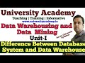L5: Metadata in Warehouse| difference between database system and data warehouse in hindi
