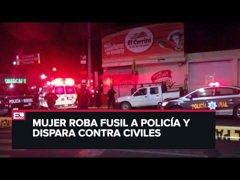 Mujer roba arma a policía y dispara en Aguascalientes