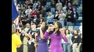 Nola Jones performs at NBA game NATIONAL ANTHEM