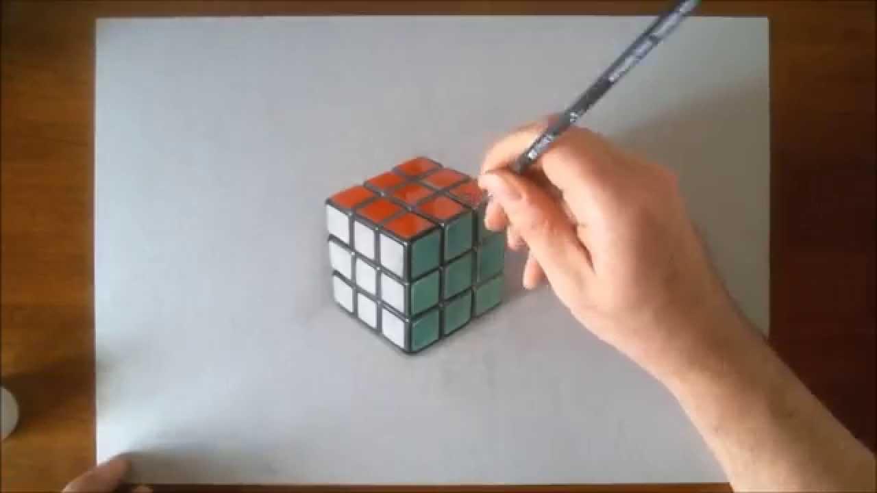 Disegno realistico effetto 3D in time lapse cubo di Rubik