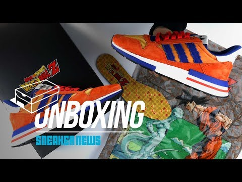 "Watch as the 'Dragon Ball Z' x adidas ZX 500 RM ""Goku"" Gets Unboxed"