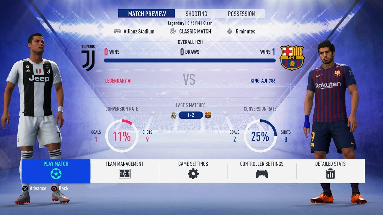 Fifa 19 Juventus Vs Barcelona Full Gameplay 1080p Ps4 Youtube