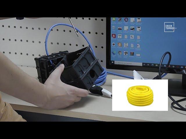Cabo HDMI em parede de alvenaria e HDMI via cabo de rede para eletroduto flexível